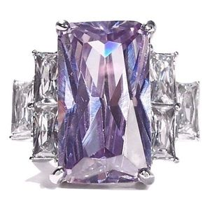 STAINLESS STEEL Simulated Light Amethyst CZ Ring
